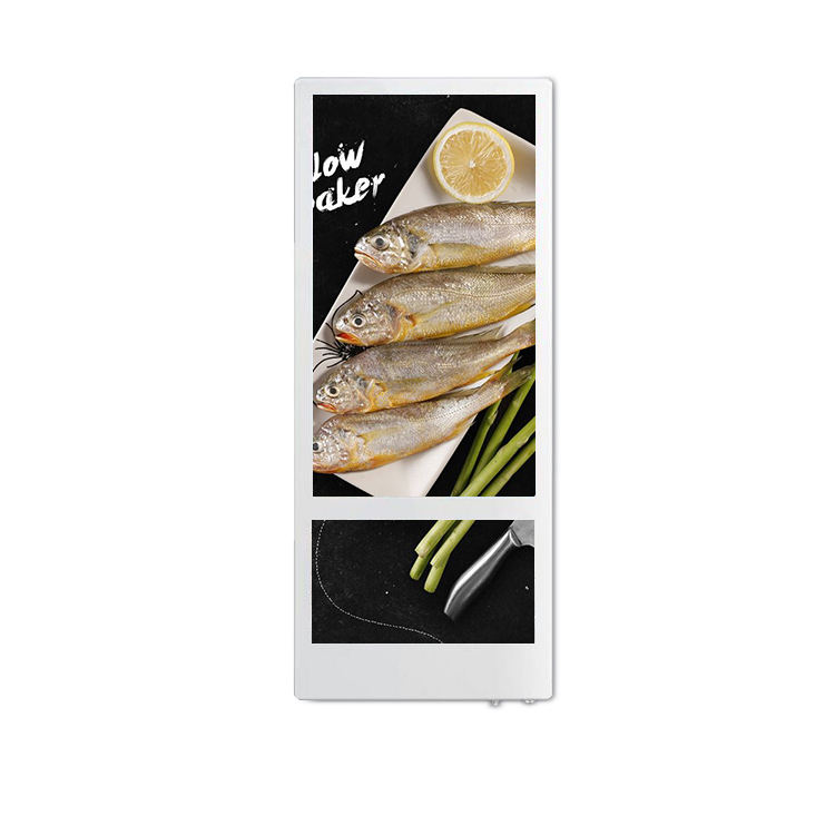 18.5 inch and 10.1 inch super slim dual screen vertical wall mounted elevator LCD digital signage display
