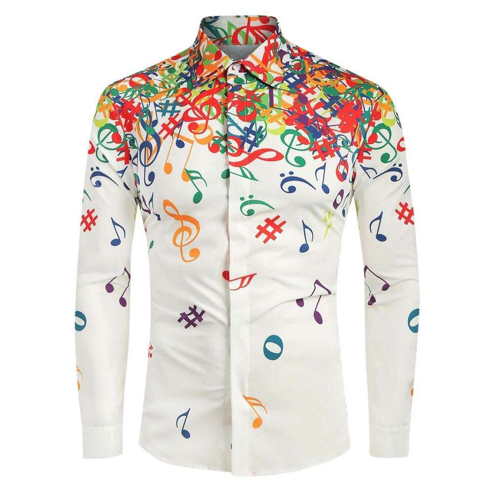 2019 Men Casual Musical Note Pattern Casual Long Sleeves Artistic Shirt Top