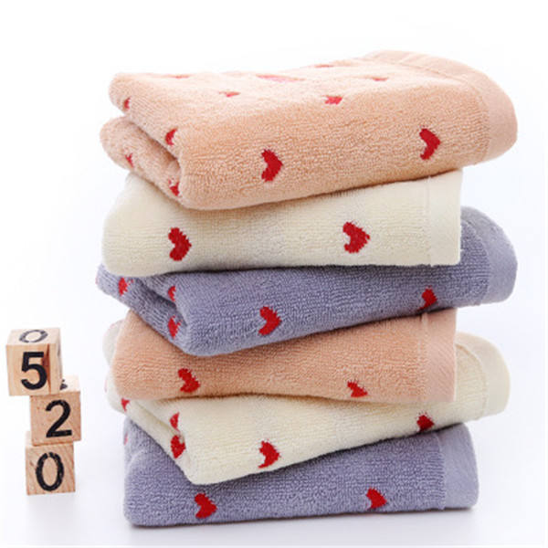 Wholesale thickened lovers peach heart towels 32s cotton towel logo custom gift towels