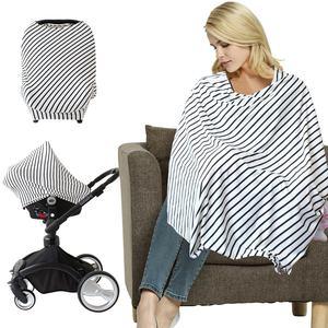 Custom organic stretchy multi use car seat canopy poncho breastfeeding scarf baby nursing cover