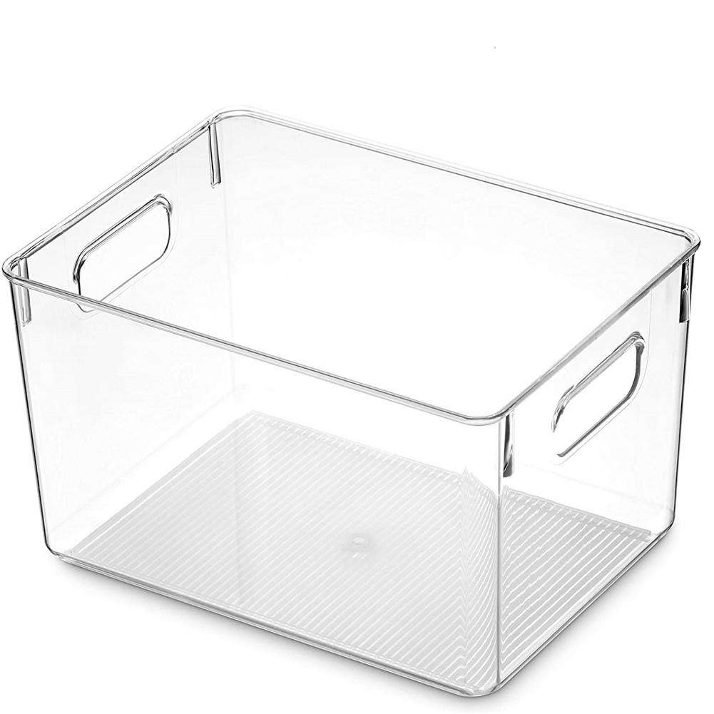 Clear Pantry Organizer Bins Household Plastic Food Storage Basket Box for Kitchen Countertops Cabinets Refrigerator Freezer