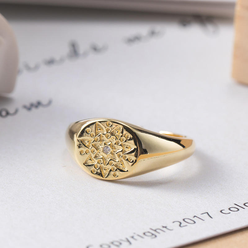Custom design 925 sterling silver Gold Filled Seal-type Ring Personalized round shape eyes ring