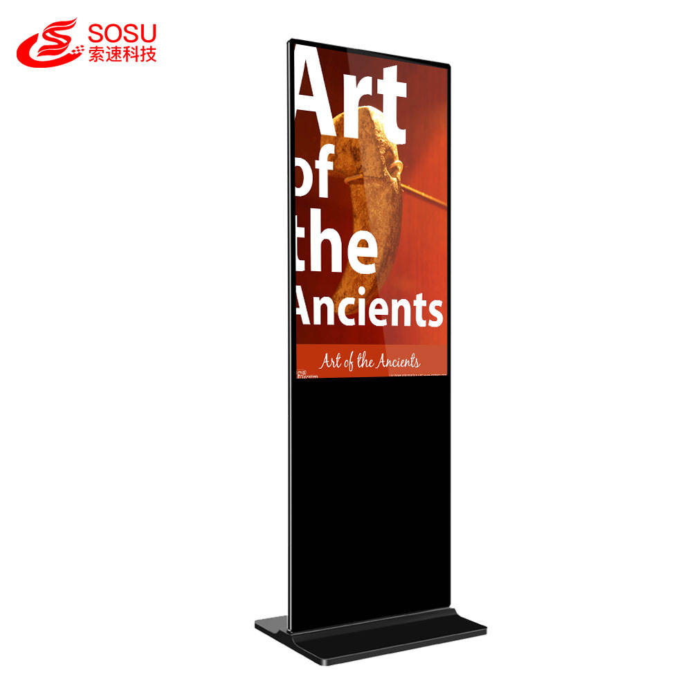 Digital signage floor stand 65 inch Android uhd digital signage device display bezel ultra thin