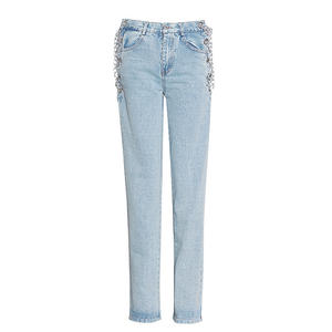 2020 new arrivals fashion brand women pencil pants sexy high waist denim jeans with chain