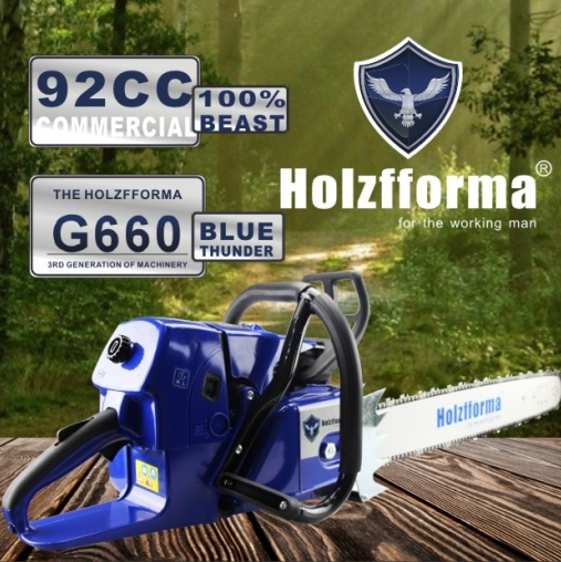 92cc Holzfforma Blue Thunder G660 Gasoline Chain Saw Power Head Without Guide Bar and Chain compatible with MS660 066 Chainsaw