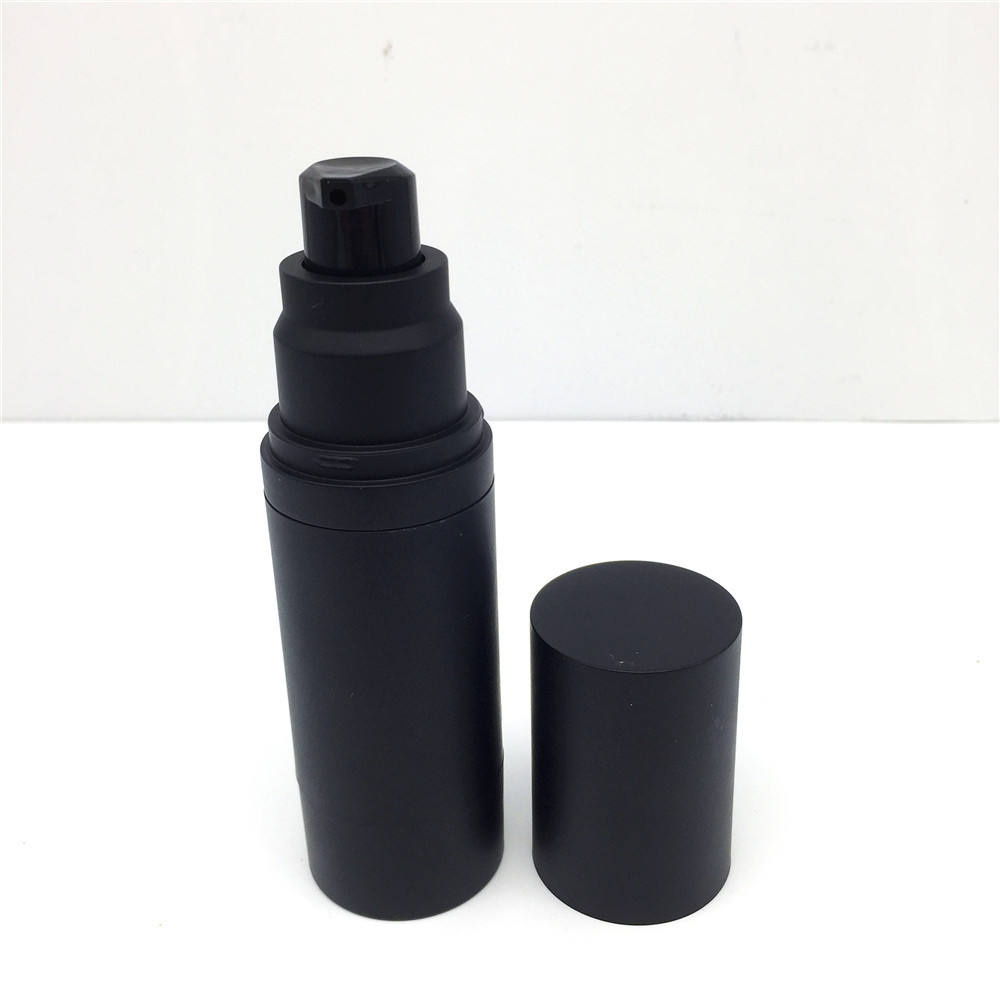 whosale empty black acrylic airless pump bottle 30ml matte frosted finish plastic cosmetic packaging bottle