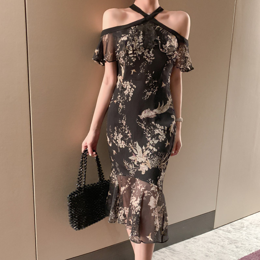 Women's Sexy Ruffle Print Backless Dress Lady Hanging Neck Slim Fishtail Dress Evening Party Elegant Skirt