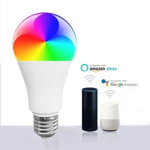Amazon Supplier A60 LED WIFI Bola Lampu Super Bright 2700-6500K Dapat Disesuaikan RGB 9W Wifi Smart Bulb lampu dengan Tuya Alexa Google
