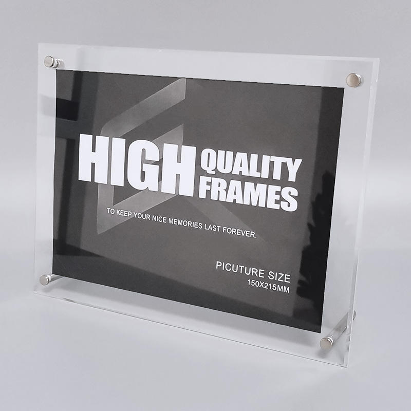 Desk Table Acrylic Picture Frame With Metal Support
