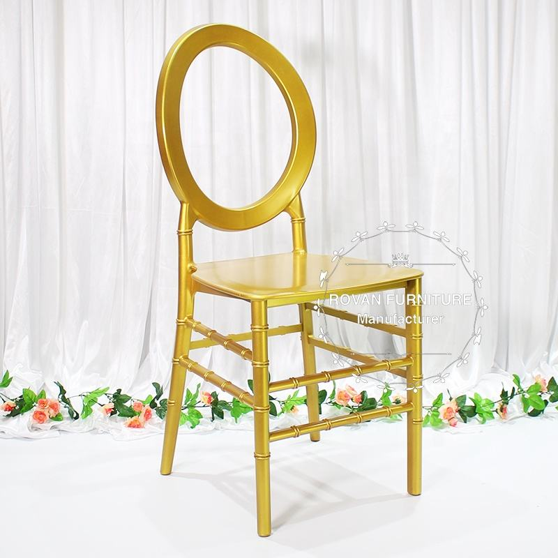Unique new design hollow pp resin gold tiffany hotel phoenix wedding stackable O chair