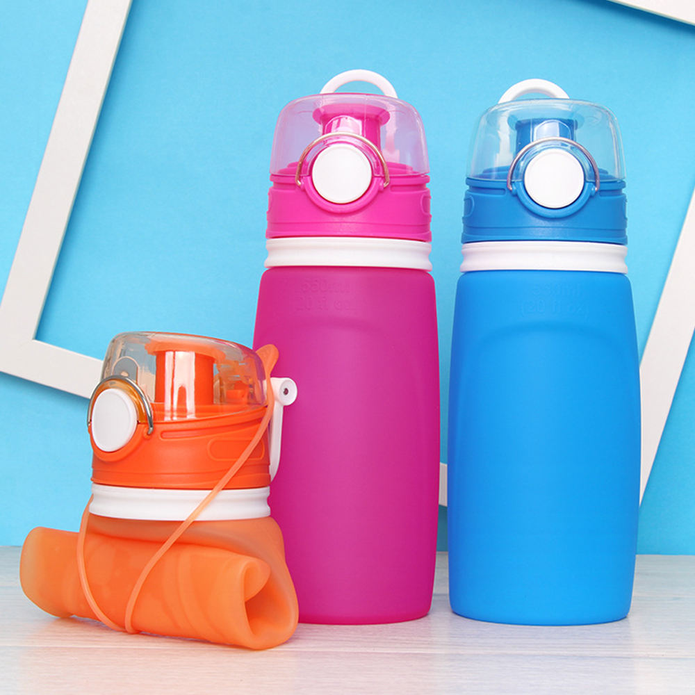 550ml Silicone Portable Folding Collapasible Travel Camping Sports Water Bottle