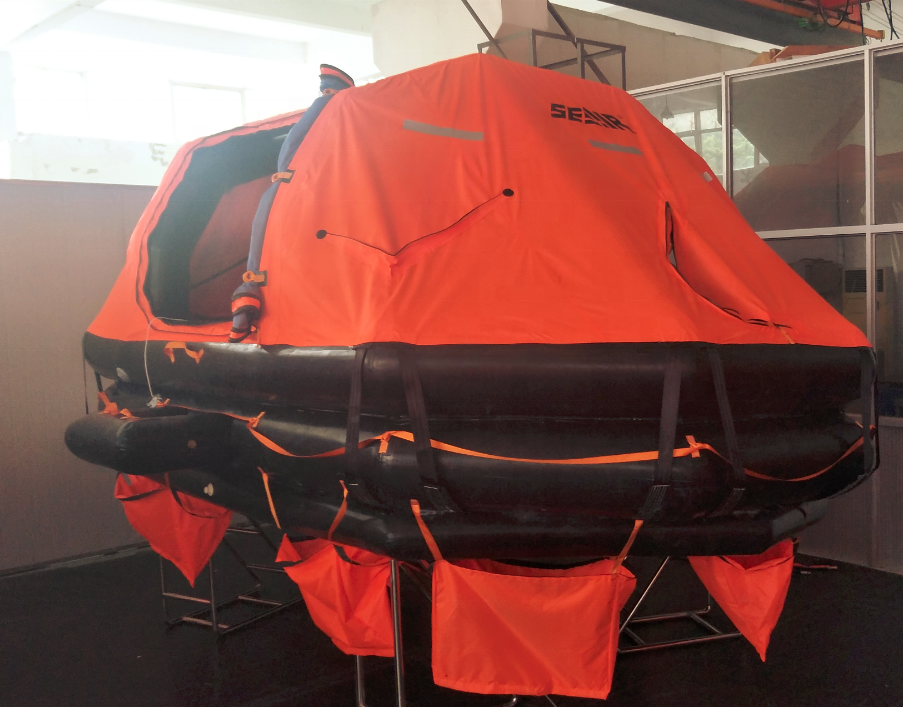 DAVIT LAUNCHED AND SELF RIGHTING LIFERAFT