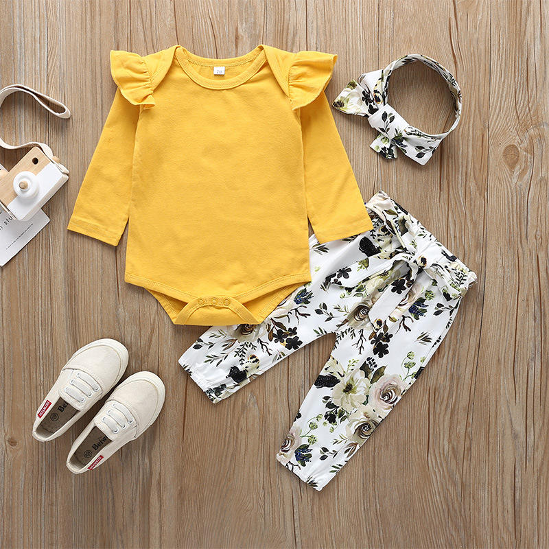 baby girl clothing sets clothes Long sleeve cotton romper+ pants + hair band Three-piece toddler clothing