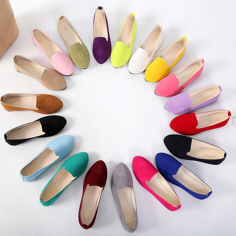 Cheap Plus Size Women's Flats Slip on Flat Shoes Fashion Women Leather Shoes Loafers Faux Suede Ladies Casual Flat Shoes