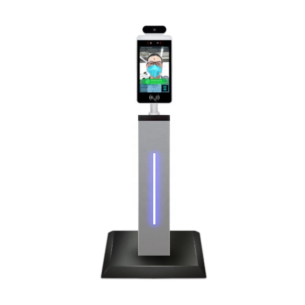 Android contactless biometric face recognition body temperature with qr code scanning through security door sccess control