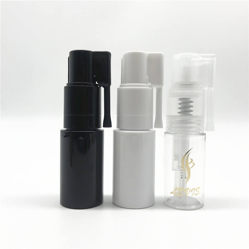 Excellent 35ml Clear PET Plastic Hair Glitter Powder Bottle with Black Pump Spray