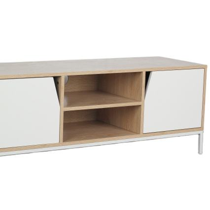 Moderno MDF Top <span class=keywords><strong>In</strong></span> Legno PORTA <span class=keywords><strong>TV</strong></span> Con Gambe <span class=keywords><strong>In</strong></span> Metallo E Due Cassetti Utilizzato Soggiorno