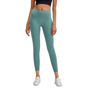 2019 Trendy Smooth Fabric High Waist Yoga Pants Custom Compression Gym Tights Women Leggings Fitness Wear