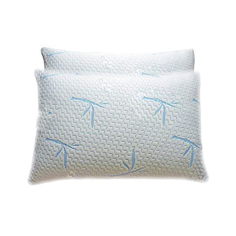 Travel Comfortable Bamboo Green Memory Soft Pillow with Jacquard Logos