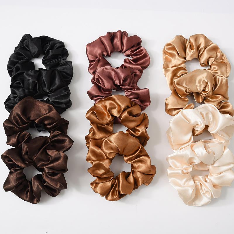 2019 Wholesale Custom Solid Color Hair Scrunchies Women Accessories Fabric Elastic Hair Band Hair Ties Girls Satin Scrunchies