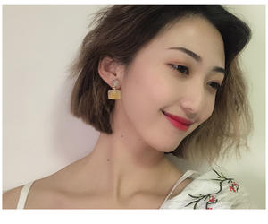 Candy colored square earrings popular young girl jewelry ear clips