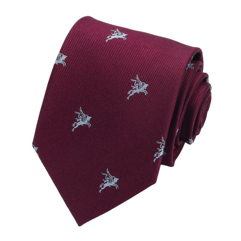 Men Fashion Burgundy Stripe Jacquard Woven Tie Custom Logo