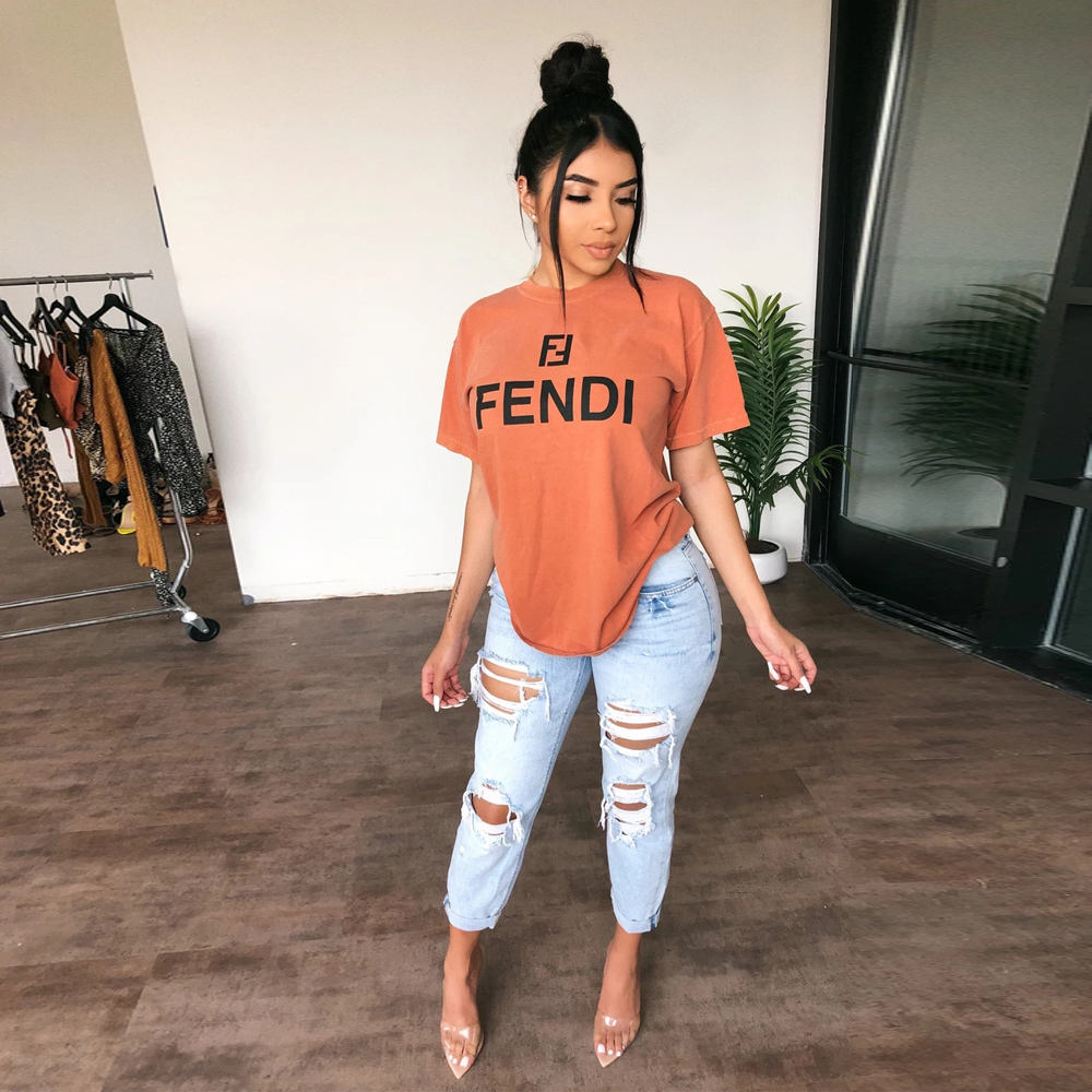 8322 Soft Cotton Material Black/Gray/Orange T-Shirts Women Sexy Oversize Streetwear Tees Womens Streetwear Snug Tops tshirts