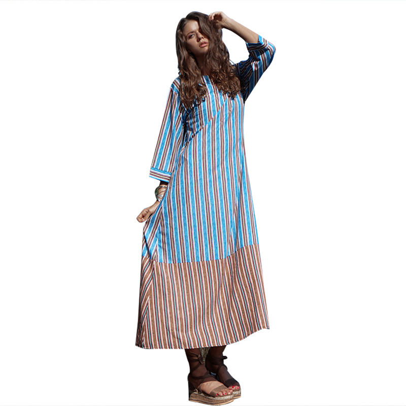 Spring and summer 2020 European and American stripe nine Sleeve Chiffon splicing long split dress
