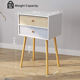 Bedside Table Nightstand End Table with Fabric Storage Drawer Pine Wooden Table for Bedroom Study and Fashion
