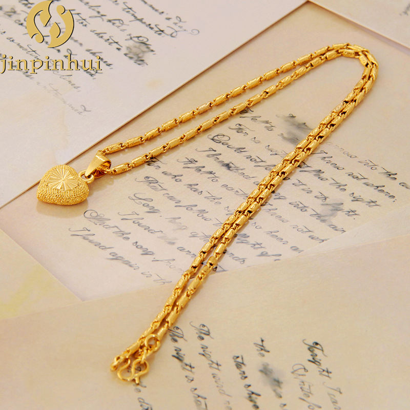 Jinpinhui jewelry hot style Vietnamese gold plated Heart Shaped Pendant Necklace For woman