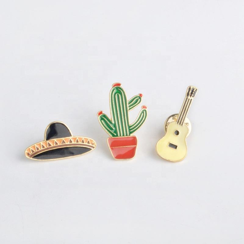 Cartoon Cactus Cap Fiesta Cinco De Mayo Party Favors Enamel Glaze Zinc Alloy Lapel Pin Custom Badge Pin Button Badges Emblem