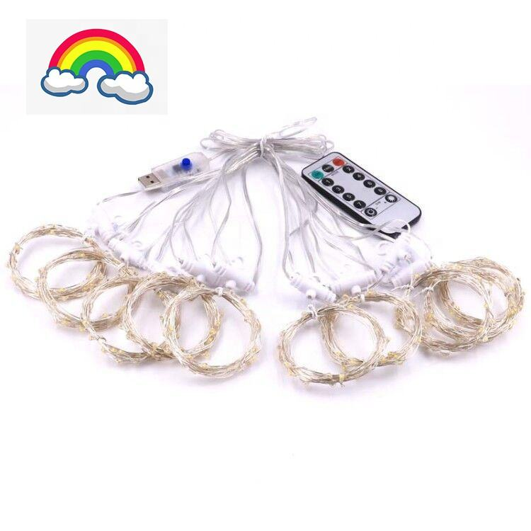 Rainbow Starry fairy Copper wire dewdrop rice lights Curtain Lights 210 LED safety Window Lights with hanging hook USB REMOTE
