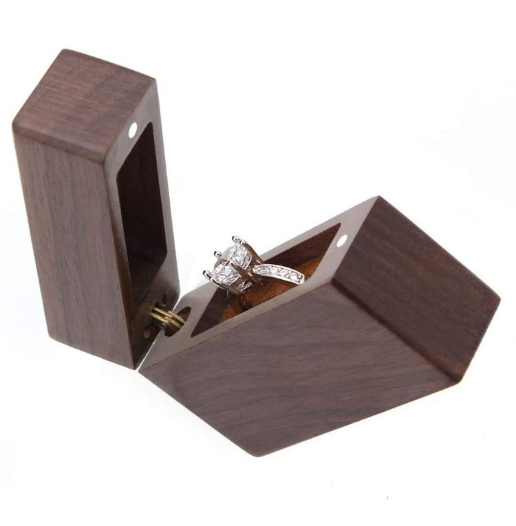 Portable Jewelry Box Handcrafted Walnut Wood Jewelry Boxes Walnut Wood Ring Box