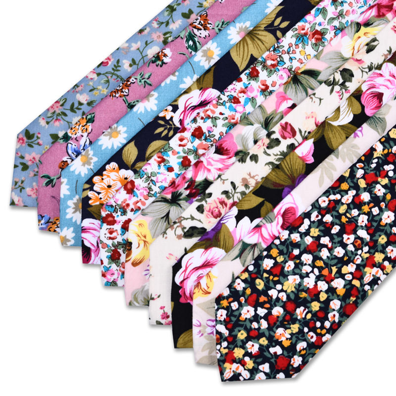 Wholesale Men's Europe Floral Styles 6.0cm Wedding Party Cotton Skinny Ties Stock Necktie