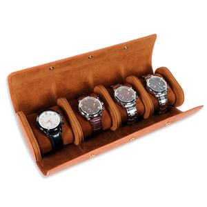 Custom Top Vintage detachable brown genuine leather watch roll case