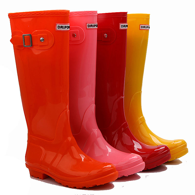 wholesale women trendy candy color clear funky pvc wellingtons rain boots for lady