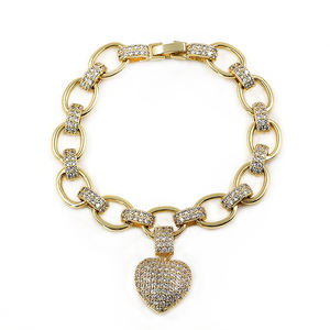 Best Christmas Gift Factory Price Customized Fancy Real Gold Plated Bling Love Cuban Link Chain Heart Shape Charm Bracelets
