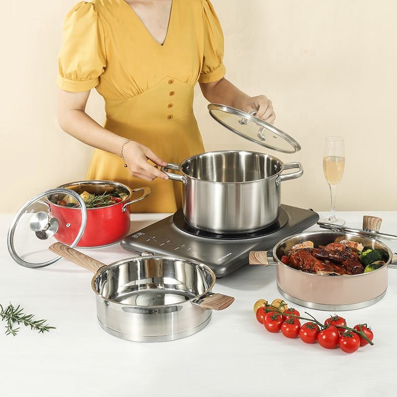 5 in 1 Top Sale OEM Cookware Sets Stainless Steel Kitchen Cookware Sets