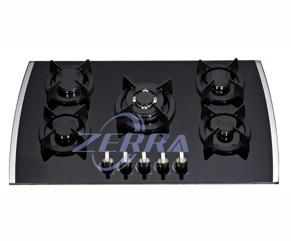 Black tempered glass built in 5 burners gas cooktop
