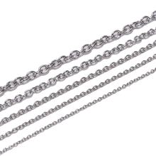 5meter/lot 1.2 1.6 2.5 3 mm Cross Stainless Steel Necklaces Chains Bulk Link Chain For DIY Jewelry Making Findings Accessories