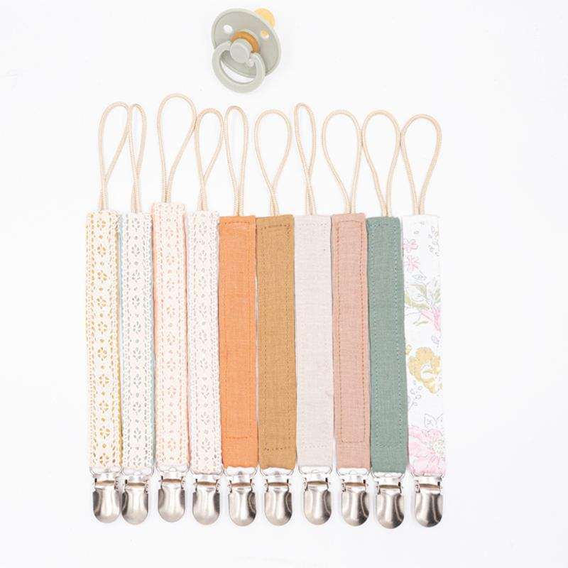 Cotton Linen Pacifier Clips Chain Dummy Clip Pacifier Holder Nipple Soother Chain Infant Baby Feeding Baby Accessories