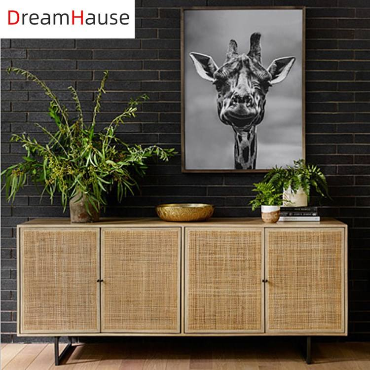 Dreamhause Hotel Living Room Furniture Solid wood And Rattan TV Cabinet High Kitchen Cupboard