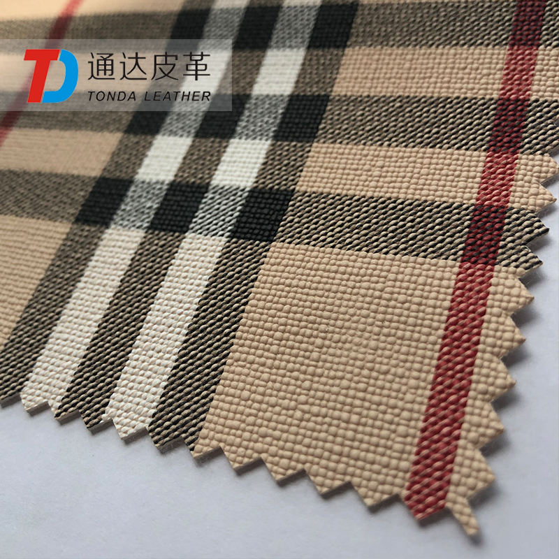 Tonda Leather variegated burberry pattern PVC synthetic leather1.0 mm thickness for bags T0809