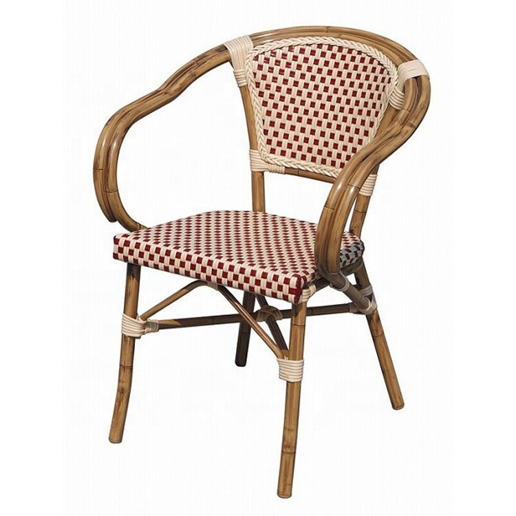 (SP-OC430) Stock Paris PE Rattan Cafe Dining Chairs Outdoor French Terrace Garden Chair Cheap Price