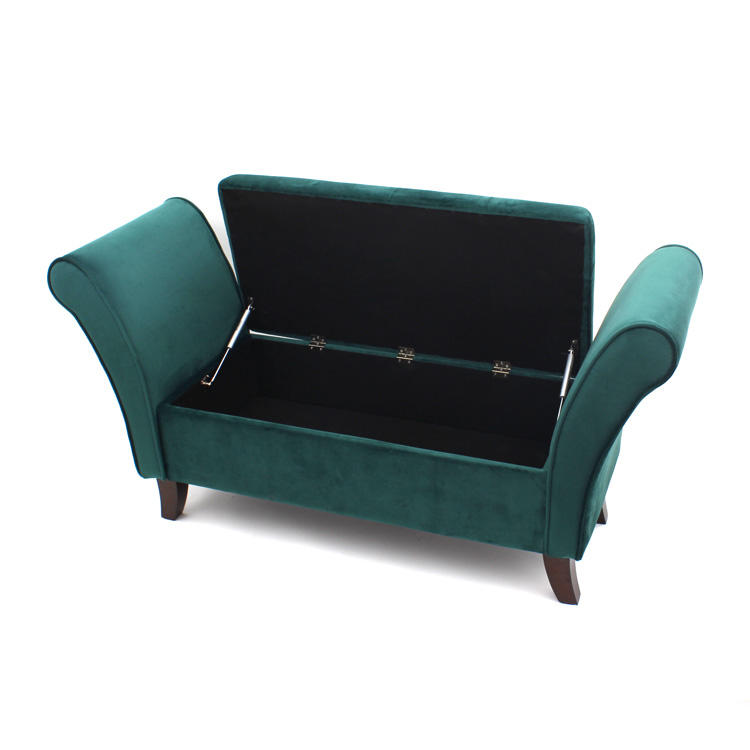 Customized Home furniture large Wooden Seat large fabric sofa chair bench with open lid