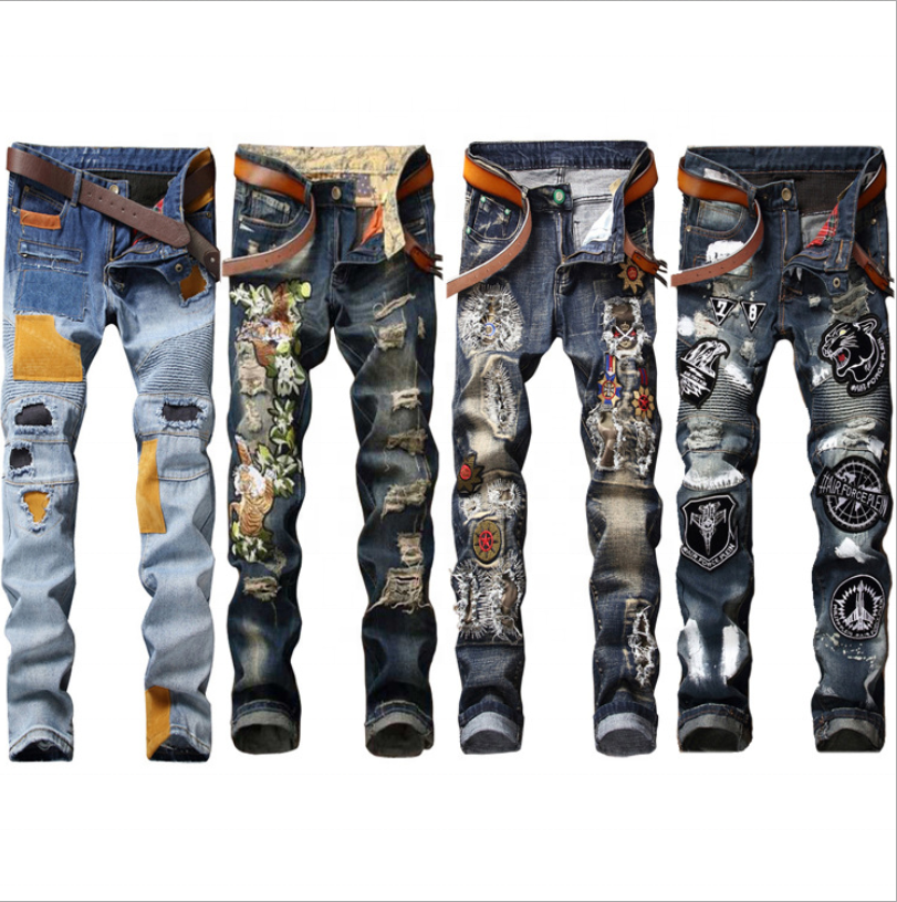 stock wholesale 4 styles options motor & biker cotton stretch narrow cuff slim damaged ripped embroidery men jeans patch