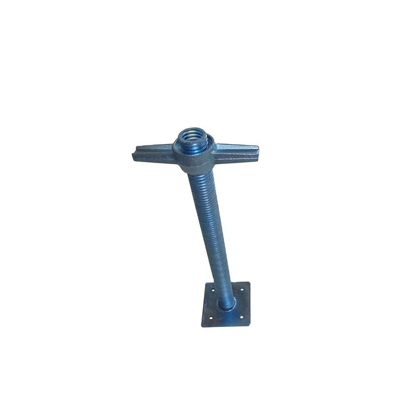 Adjustable base jack top scaffolding producing machine