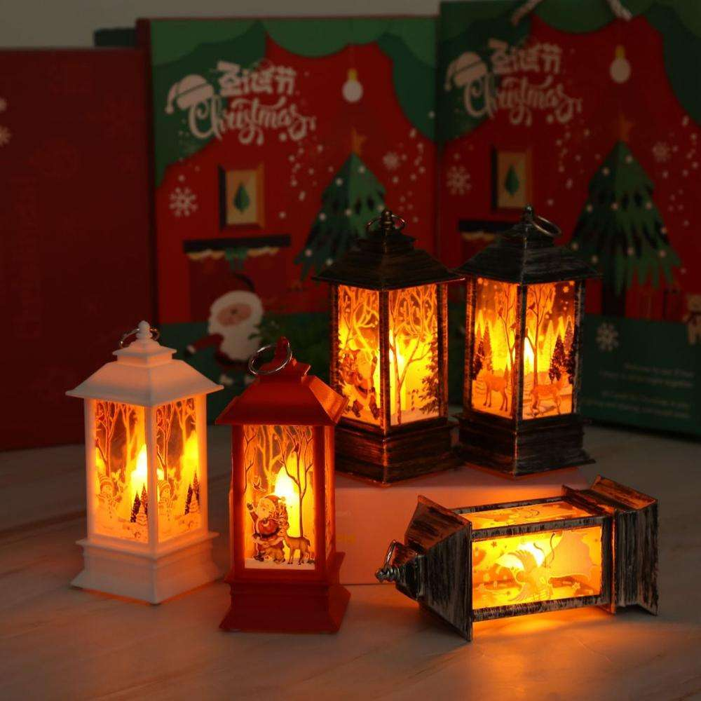 Christmas Decorations For Home Lantern Led Candle Tea light Xmas Tree Ornaments Santa Claus Lamp
