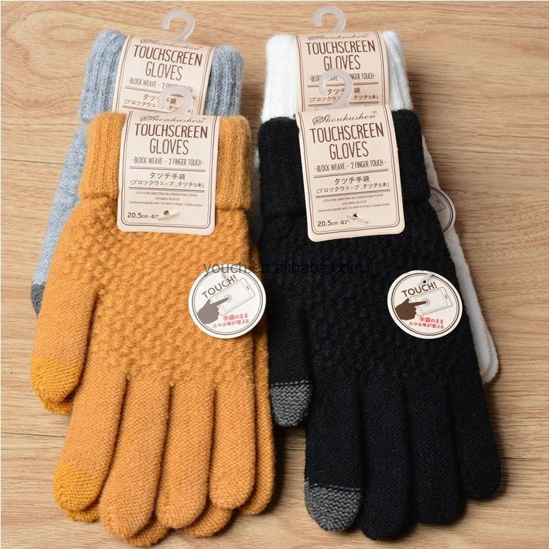 Japan Korea style new cashmere brushed knitted gloves lady jacquard touch screen gloves keep warm winter gloves