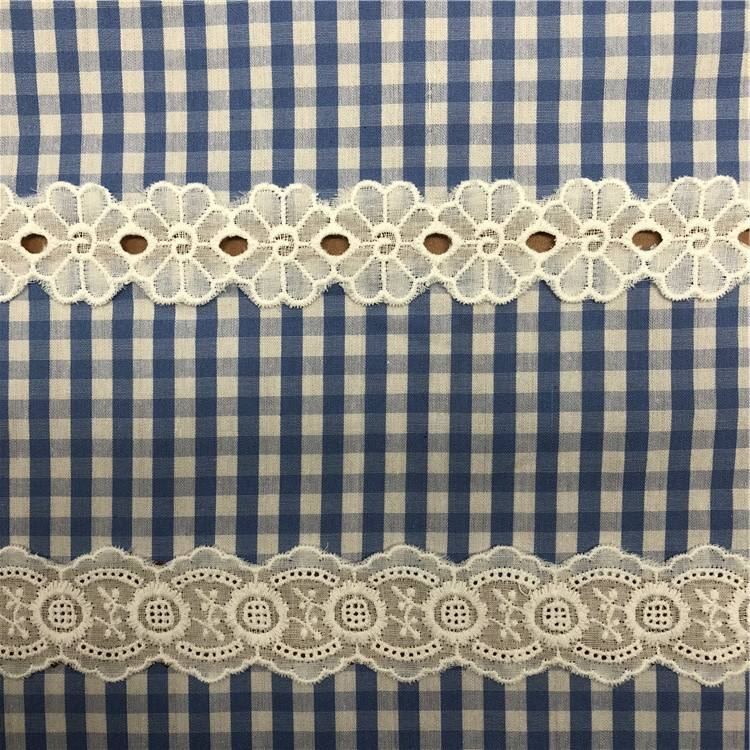 China Fabrikant Factory Supply 6 Cm Kledingstuk Accessoire 100% Katoen Oogje Kammosselrand Wit Borduren Lace Trim Grens